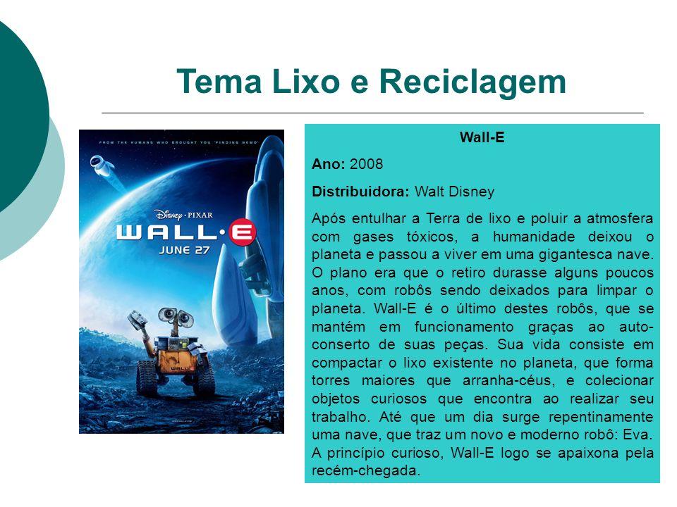 Tema Lixo e Reciclagem Wall-E Ano: 2008 Distribuidora: Walt Disney