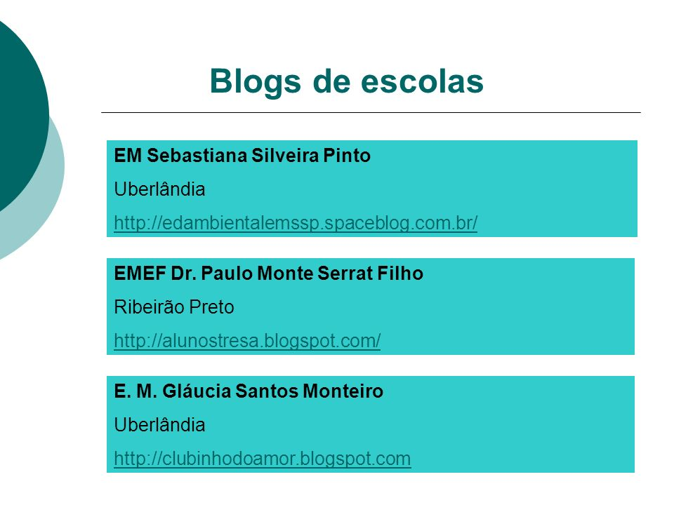Blogs de escolas EM Sebastiana Silveira Pinto Uberlândia