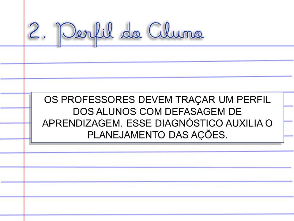 OS PROFESSORES DEVEM TRAÇAR UM PERFIL DOS ALUNOS COM DEFASAGEM DE APRENDIZAGEM.