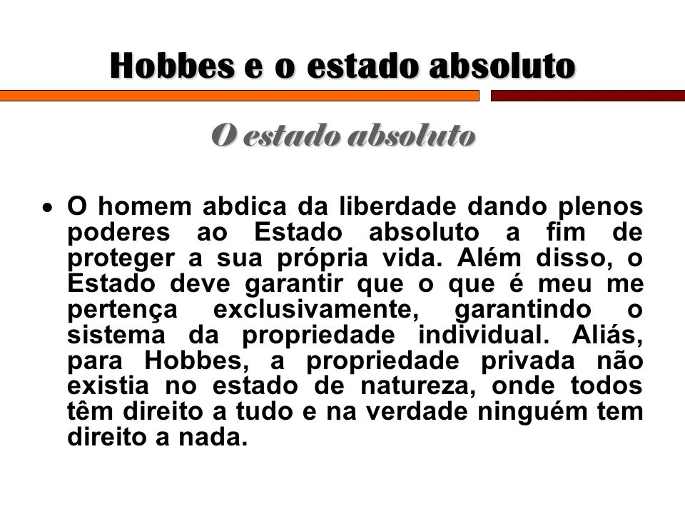 Hobbes e o estado absoluto