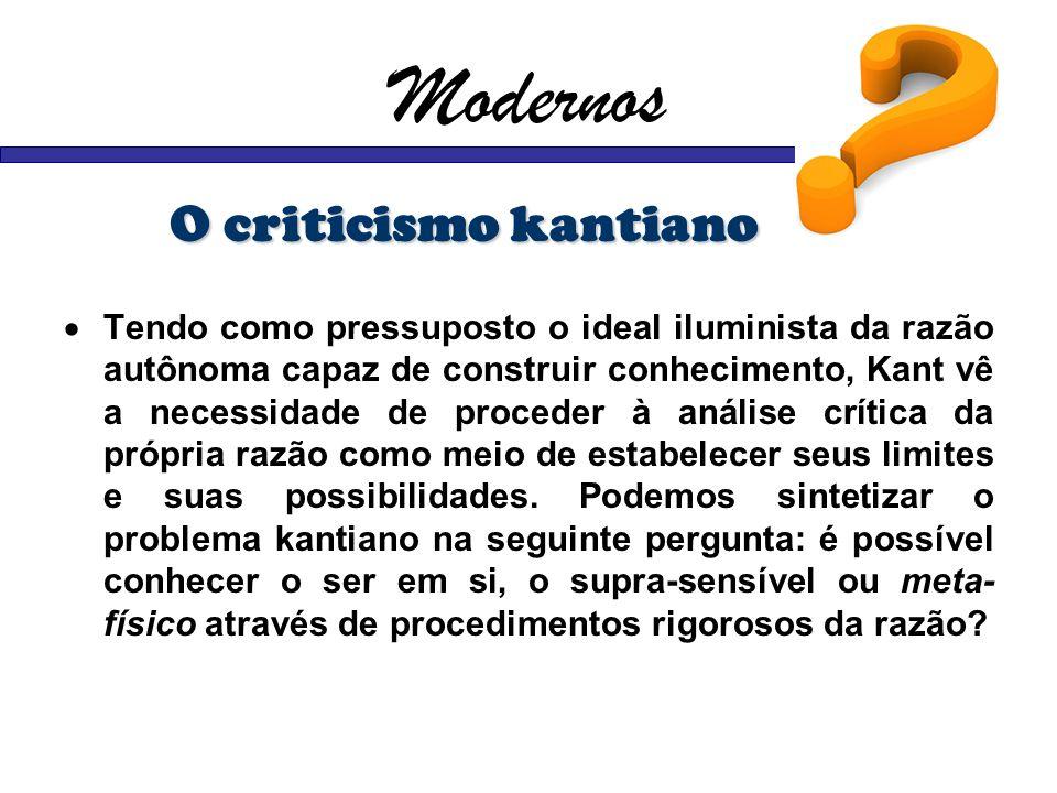Modernos O criticismo kantiano
