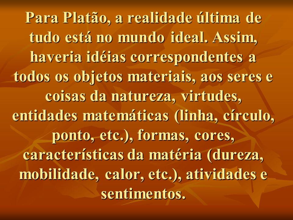 Para Platão, a realidade última de tudo está no mundo ideal