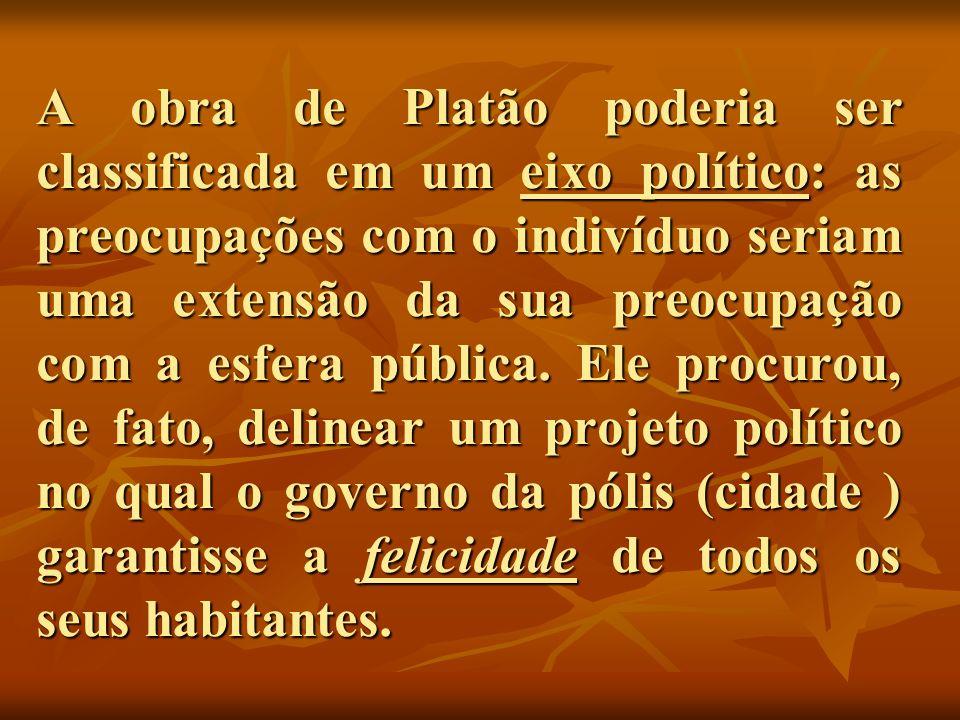 A obra de Platão poderia ser classificada em um eixo político: as preocupações com o indivíduo seriam uma extensão da sua preocupação com a esfera pública.