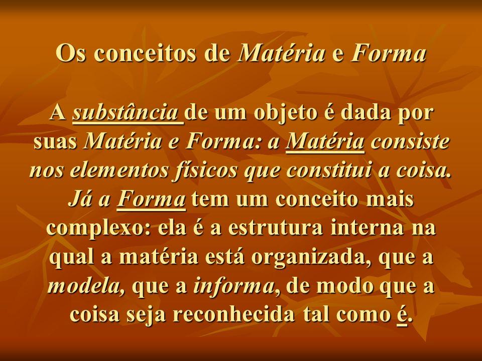 Os conceitos de Matéria e Forma A substância de um objeto é dada por suas Matéria e Forma: a Matéria consiste nos elementos físicos que constitui a coisa.