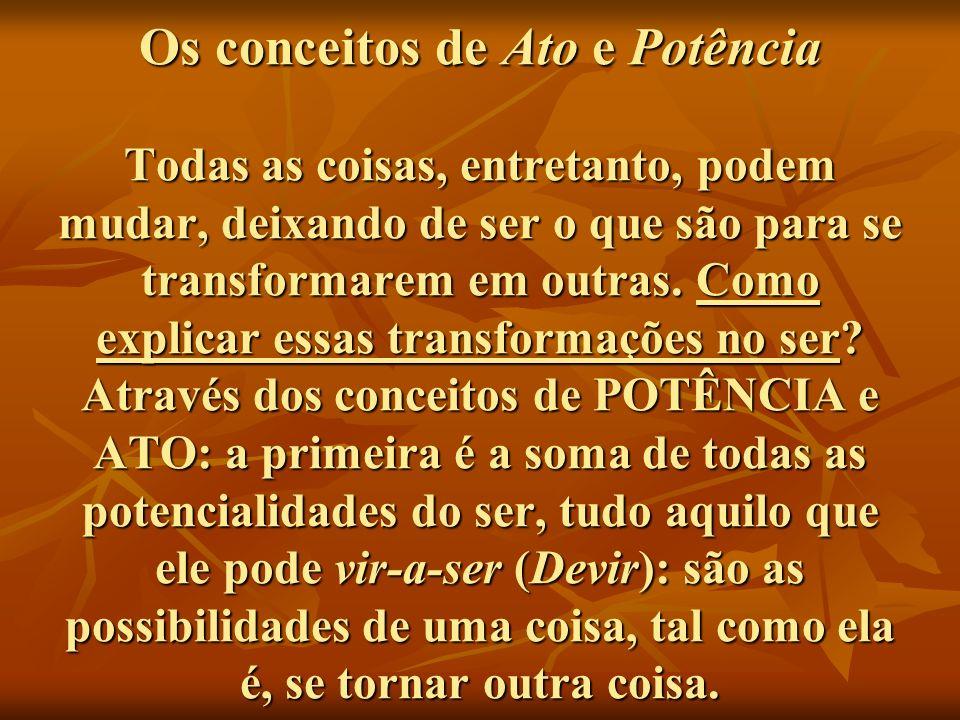 Os conceitos de Ato e Potência Todas as coisas, entretanto, podem mudar, deixando de ser o que são para se transformarem em outras.