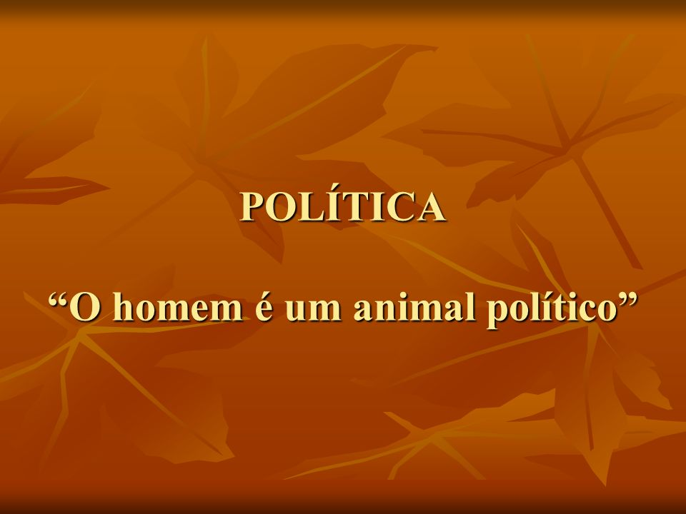 POLÍTICA O homem é um animal político