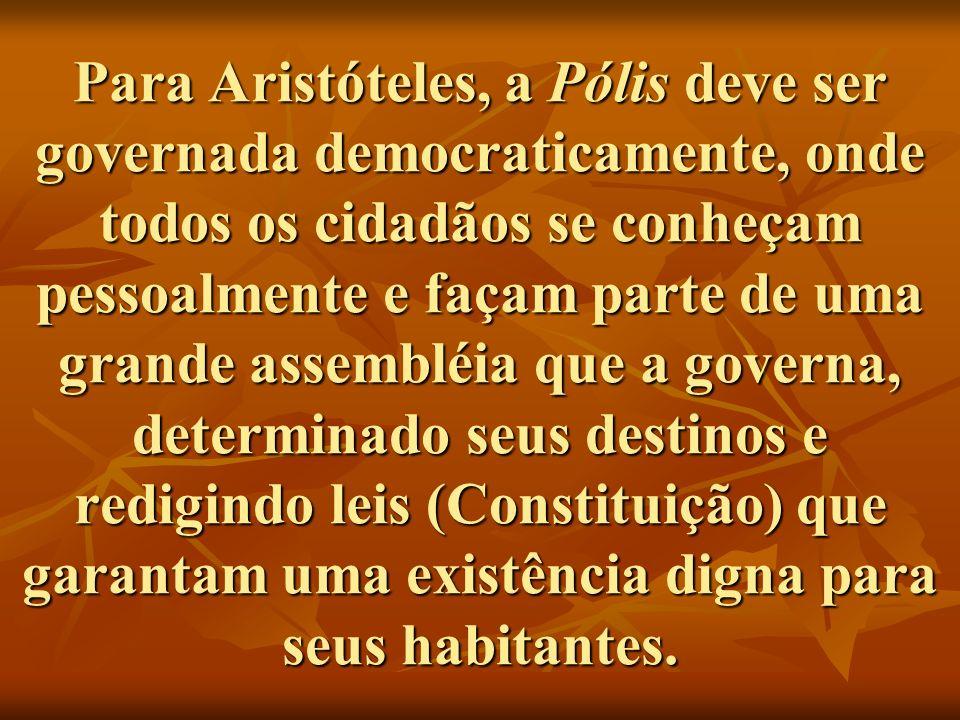 Para Aristóteles, a Pólis deve ser governada democraticamente, onde todos os cidadãos se conheçam pessoalmente e façam parte de uma grande assembléia que a governa, determinado seus destinos e redigindo leis (Constituição) que garantam uma existência digna para seus habitantes.