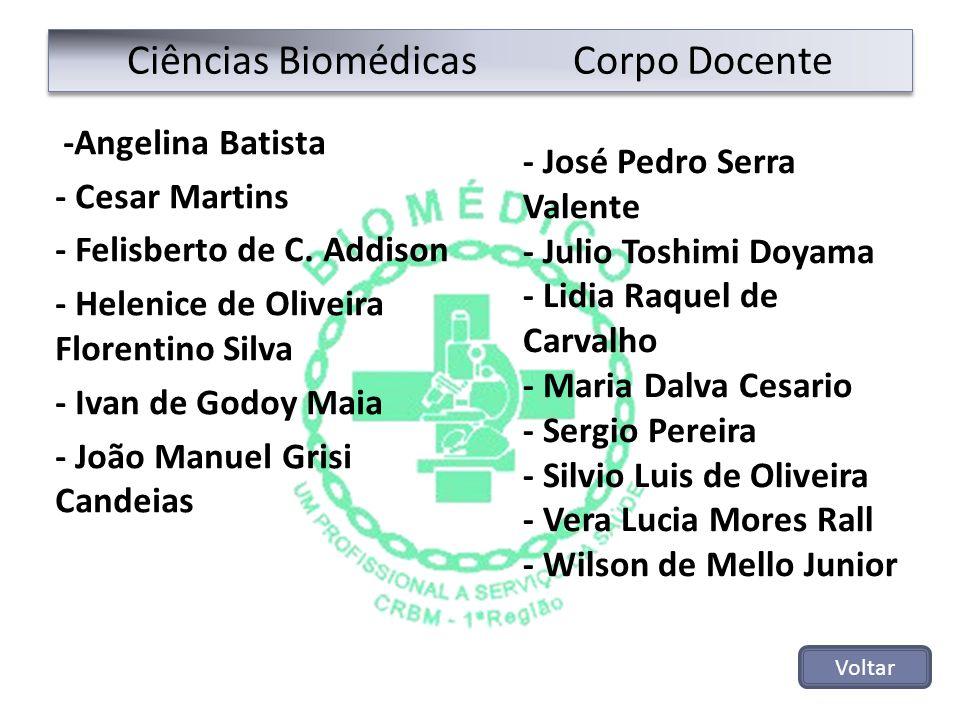 Ciências Biomédicas Corpo Docente