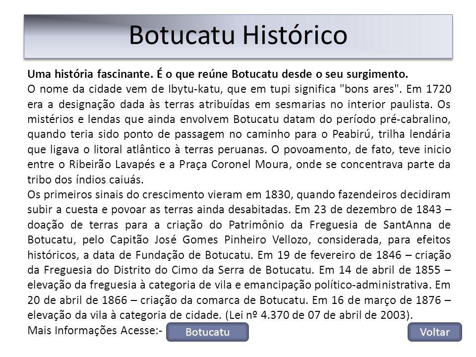Botucatu Histórico Uma história fascinante. É o que reúne Botucatu desde o seu surgimento.