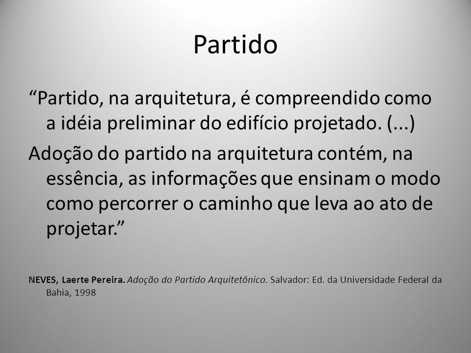 Partido Partido, na arquitetura, é compreendido como a idéia preliminar do edifício projetado. (...)