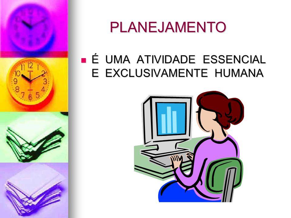 PLANEJAMENTO É UMA ATIVIDADE ESSENCIAL E EXCLUSIVAMENTE HUMANA