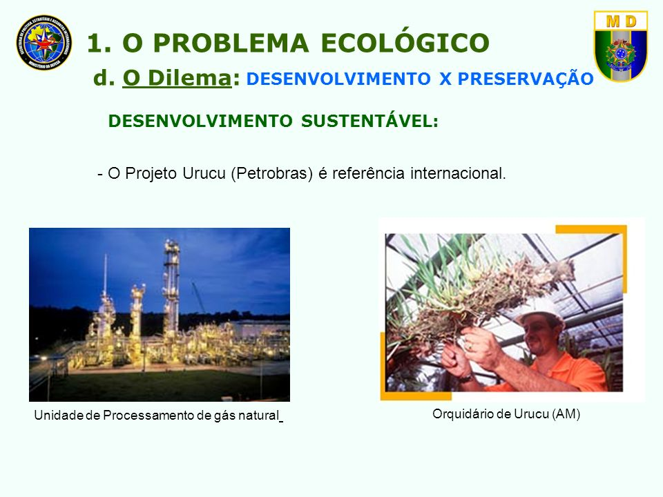 1. O PROBLEMA ECOLÓGICO d. O Dilema: DESENVOLVIMENTO X PRESERVAÇÃO