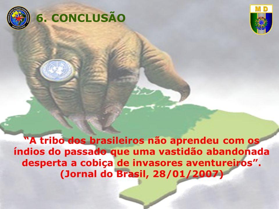 6. CONCLUSÃO A tribo dos brasileiros não aprendeu com os índios do passado que uma vastidão abandonada desperta a cobiça de invasores aventureiros .