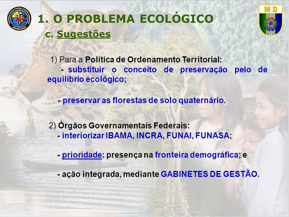 1. O PROBLEMA ECOLÓGICO 1) Para a Política de Ordenamento Territorial: