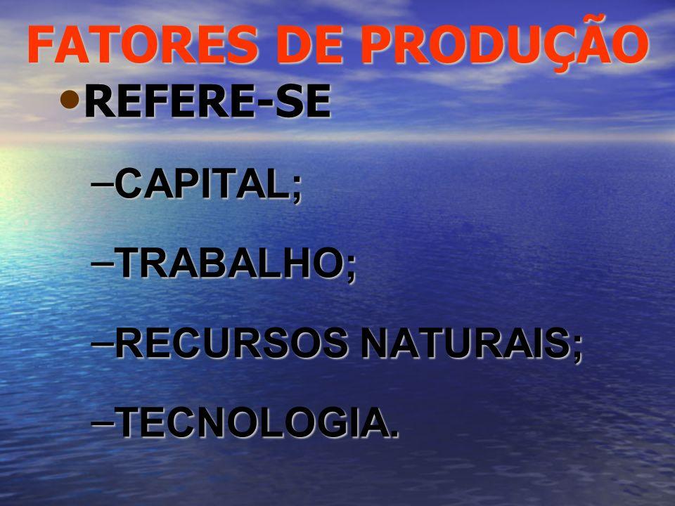 FATORES DE PRODUÇÃO REFERE-SE CAPITAL; TRABALHO; RECURSOS NATURAIS;