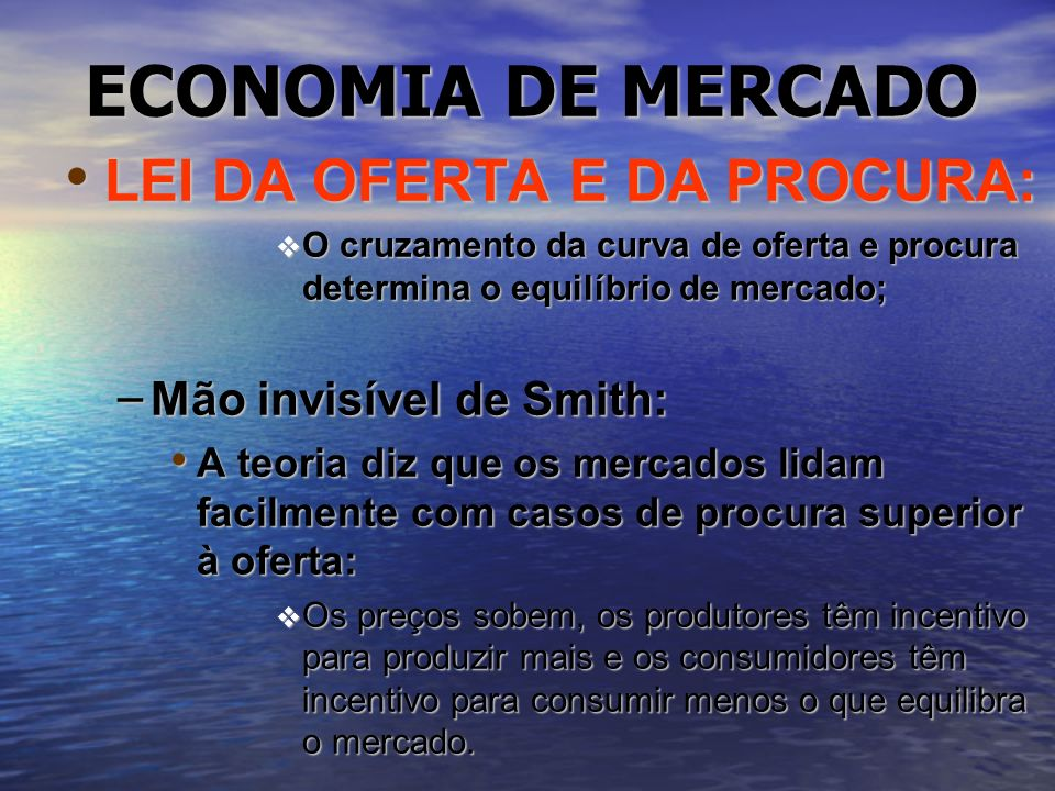 ECONOMIA DE MERCADO LEI DA OFERTA E DA PROCURA: