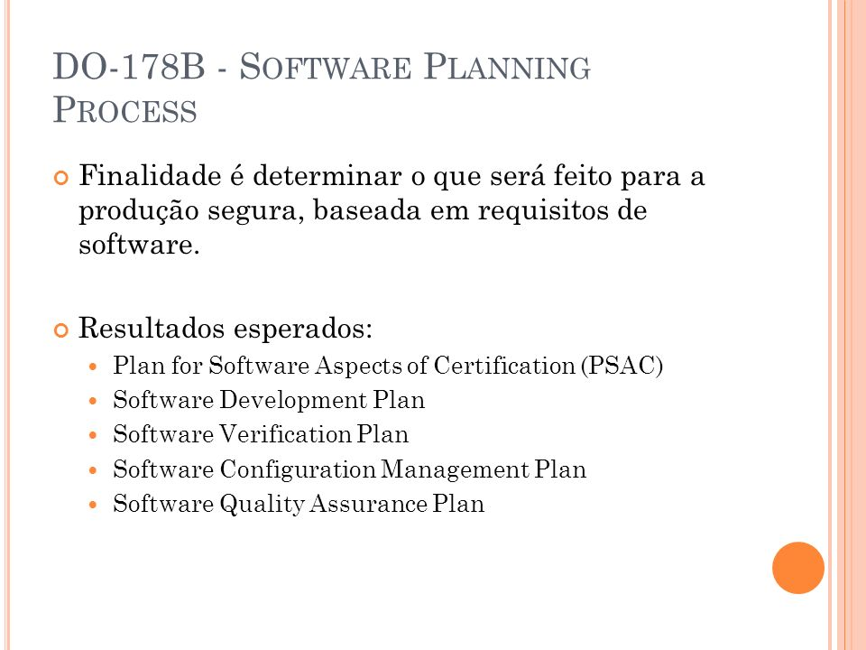 DO-178B - Software Planning Process