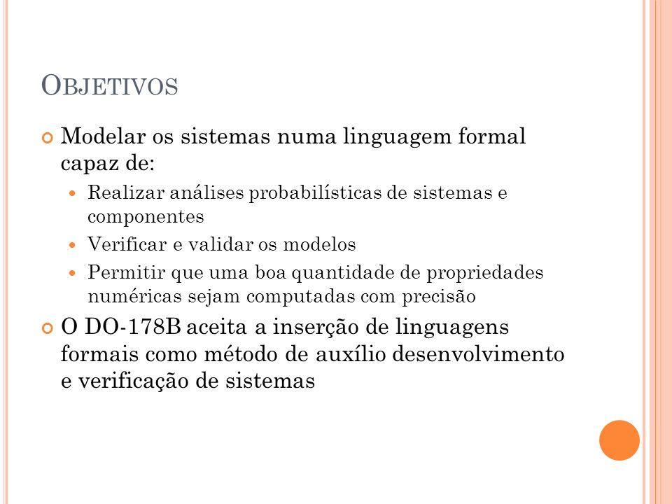 Objetivos Modelar os sistemas numa linguagem formal capaz de: