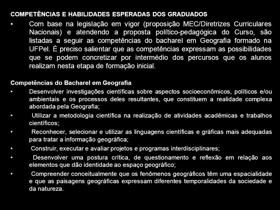 COMPETÊNCIAS E HABILIDADES ESPERADAS DOS GRADUADOS