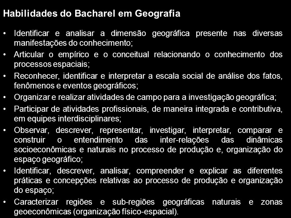 Habilidades do Bacharel em Geografia