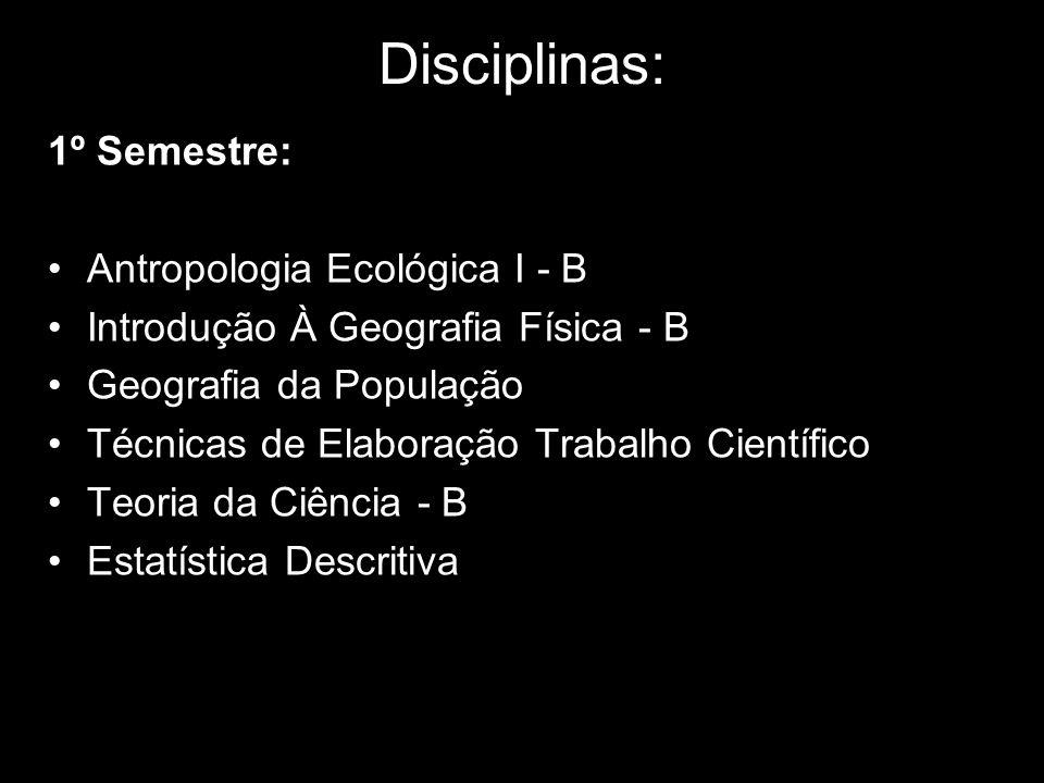 Disciplinas: 1º Semestre: Antropologia Ecológica I - B