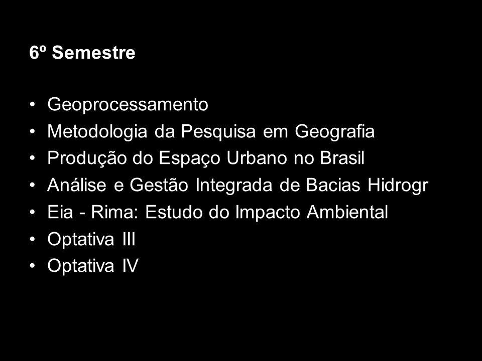6º Semestre Geoprocessamento. Metodologia da Pesquisa em Geografia. Produção do Espaço Urbano no Brasil.