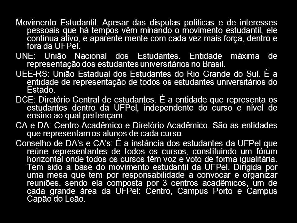 Movimento Estudantil: Apesar das disputas políticas e de interesses pessoais que há tempos vêm minando o movimento estudantil, ele continua ativo, e aparente mente com cada vez mais força, dentro e fora da UFPel.