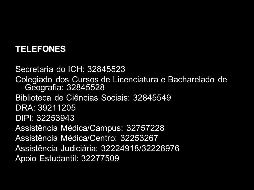 TELEFONES Secretaria do ICH: 32845523. Colegiado dos Cursos de Licenciatura e Bacharelado de Geografia: 32845528.