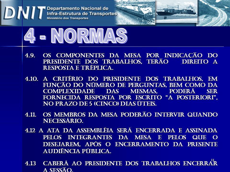 4 - NORMAS4.9. Os componentes da mesa por indicação do Presidente dos Trabalhos, terão direito a resposta e tréplica.