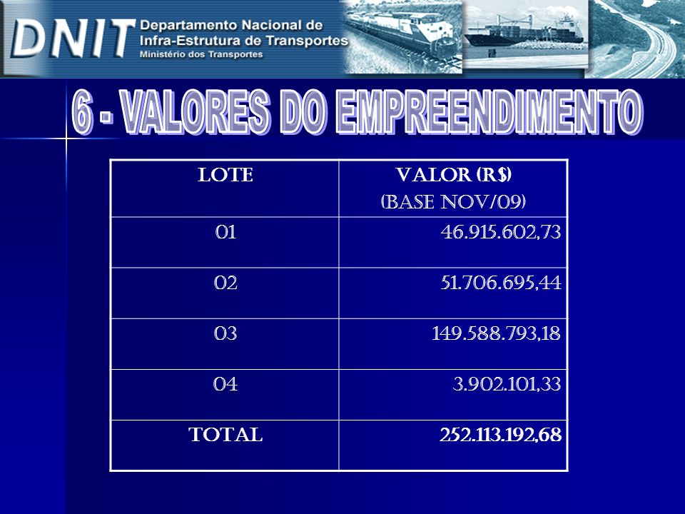6 - VALORES DO EMPREENDIMENTO