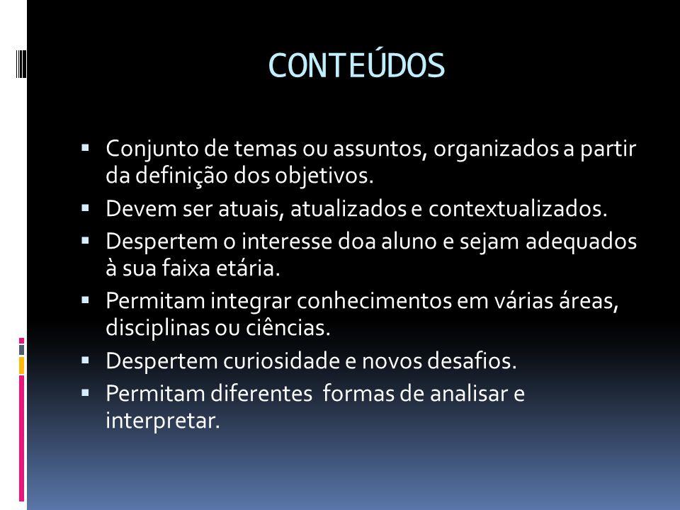CONTEÚDOS Conjunto de temas ou assuntos, organizados a partir da definição dos objetivos. Devem ser atuais, atualizados e contextualizados.