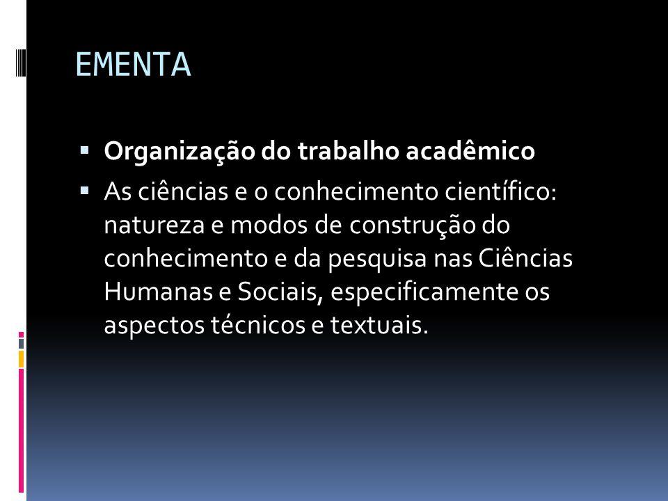 EMENTA Organização do trabalho acadêmico