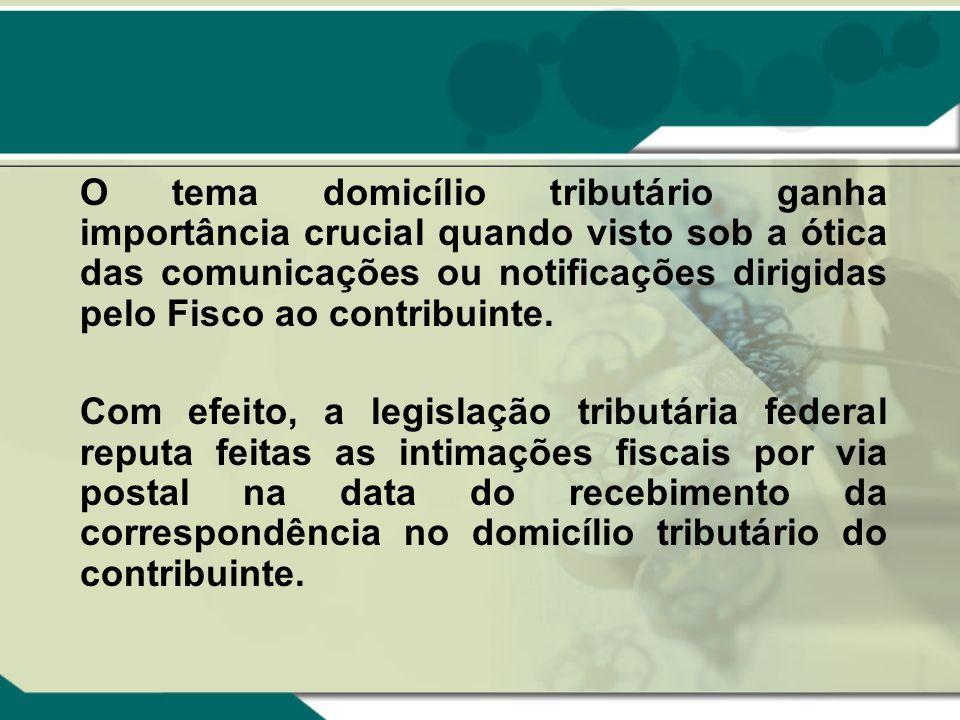 O tema domicílio tributário ganha importância crucial quando visto sob a ótica das comunicações ou notificações dirigidas pelo Fisco ao contribuinte.
