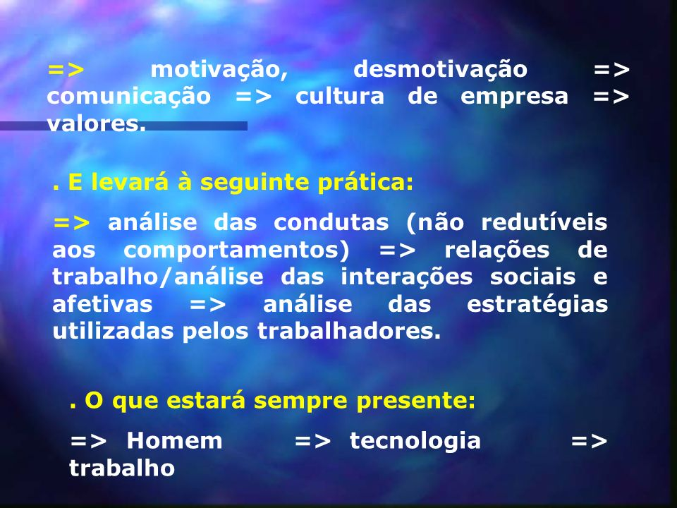 => motivação, desmotivação => comunicação => cultura de empresa => valores.