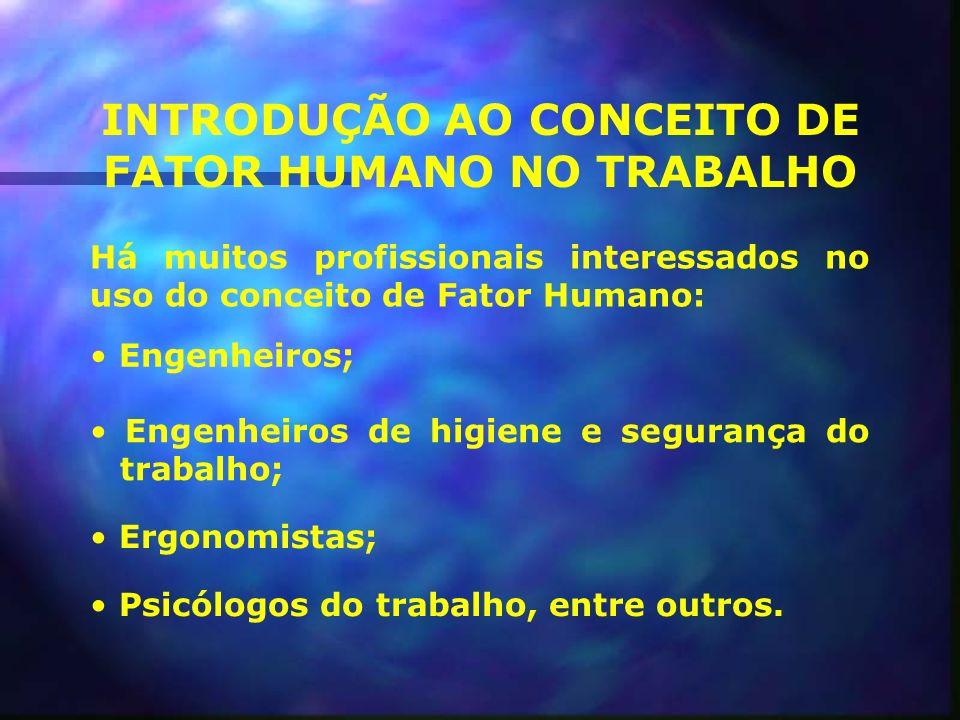 INTRODUÇÃO AO CONCEITO DE FATOR HUMANO NO TRABALHO