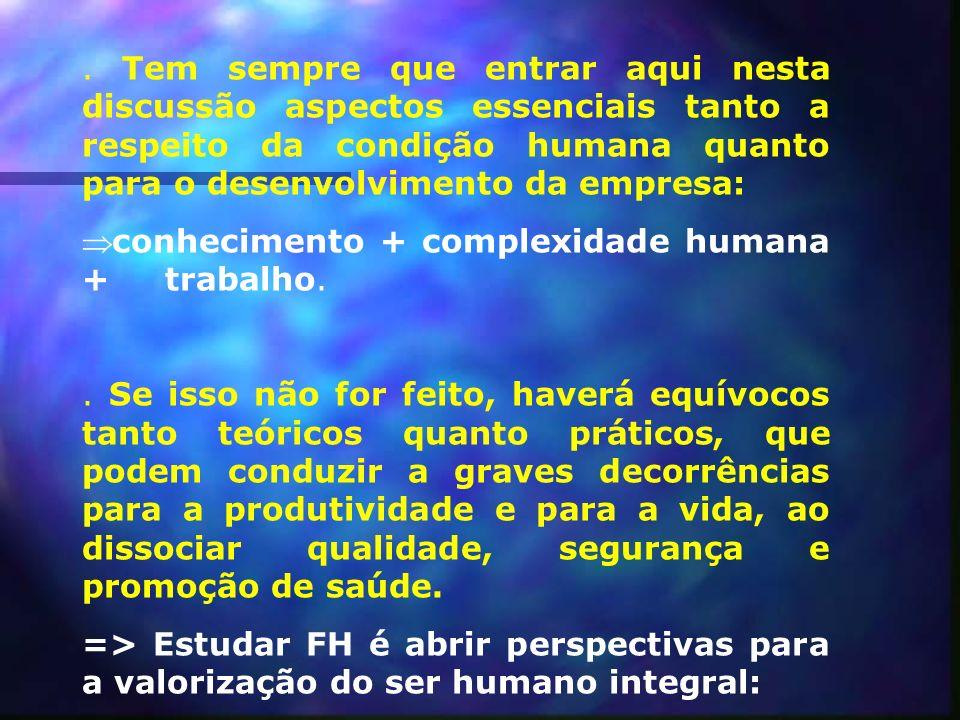 . Tem sempre que entrar aqui nesta discussão aspectos essenciais tanto a respeito da condição humana quanto para o desenvolvimento da empresa:
