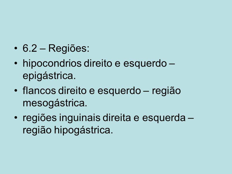 6.2 – Regiões:hipocondrios direito e esquerdo – epigástrica. flancos direito e esquerdo – região mesogástrica.