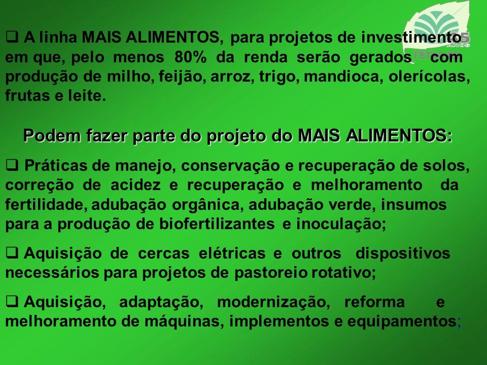 Podem fazer parte do projeto do MAIS ALIMENTOS: