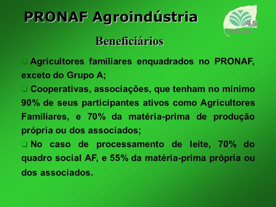PRONAF Agroindústria Beneficiários