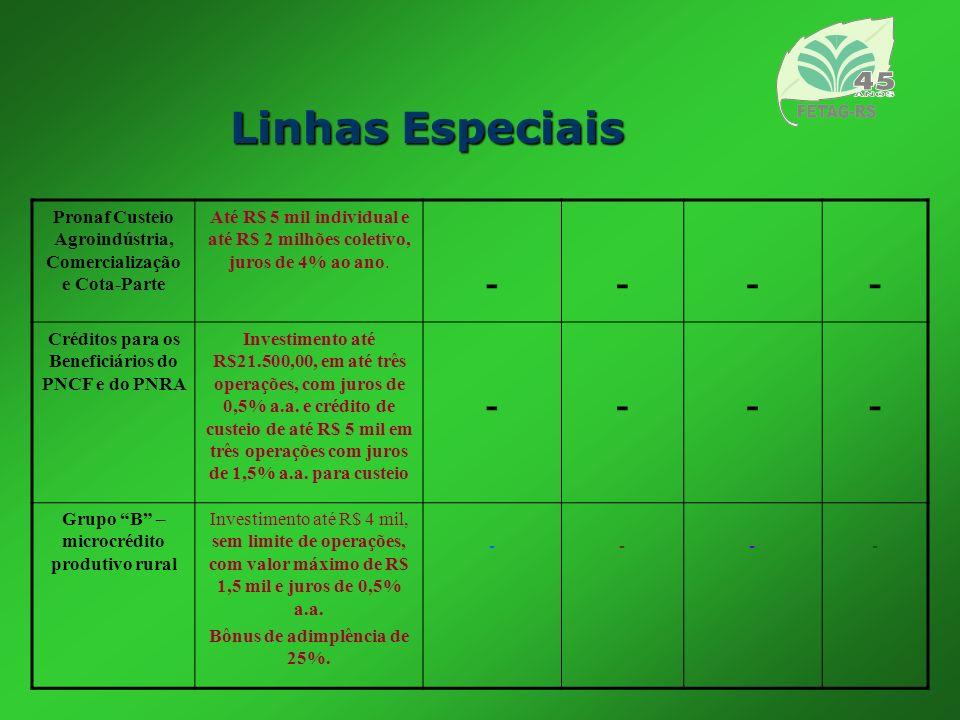 Linhas EspeciaisPronaf Custeio Agroindústria, Comercialização e Cota-Parte.