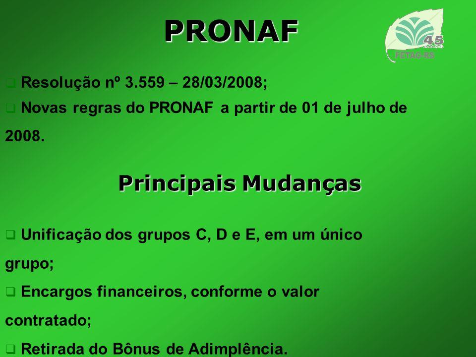 PRONAF Principais Mudanças Resolução nº 3.559 – 28/03/2008;
