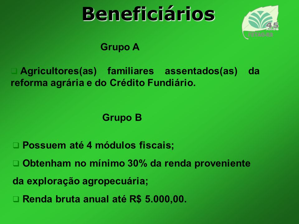 Beneficiários Grupo A. Agricultores(as) familiares assentados(as) da reforma agrária e do Crédito Fundiário.