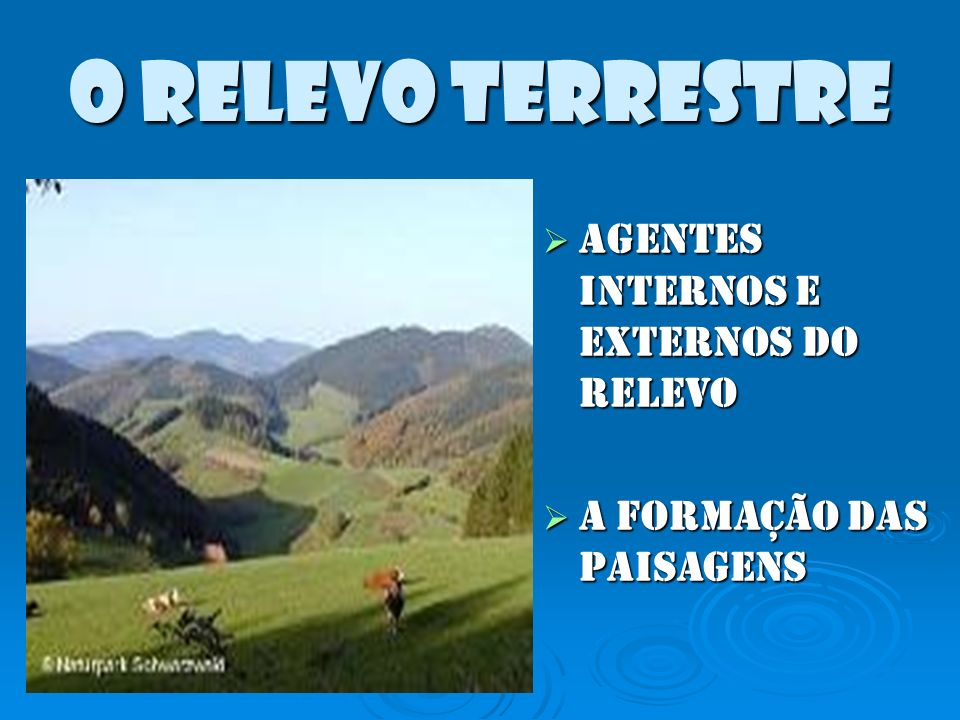 O RELEVO TERRESTRE AGENTES INTERNOS E EXTERNOS DO RELEVO