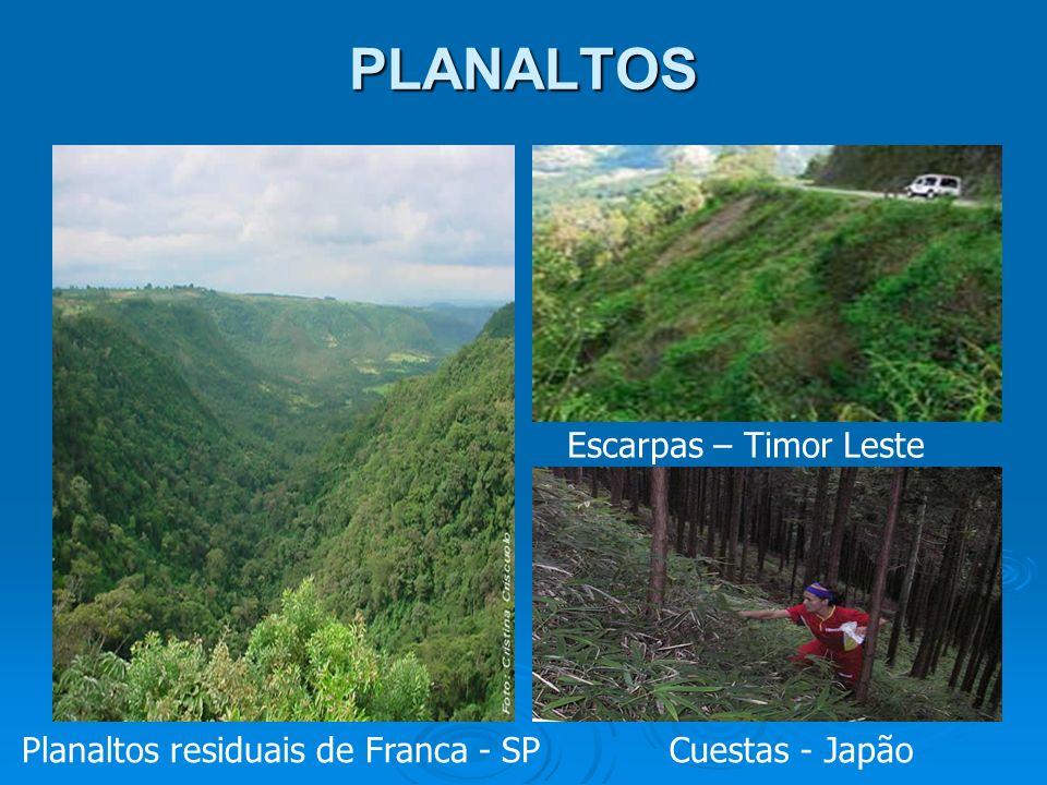 PLANALTOS Escarpas – Timor Leste Planaltos residuais de Franca - SP