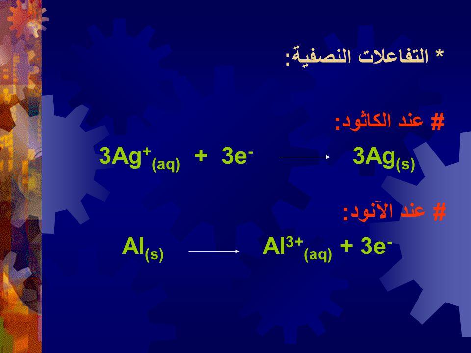 * التفاعلات النصفية: # عند الكاثود: 3Ag+(aq) + 3e- 3Ag(s) # عند الآنود: Al(s) Al3+(aq) + 3e-