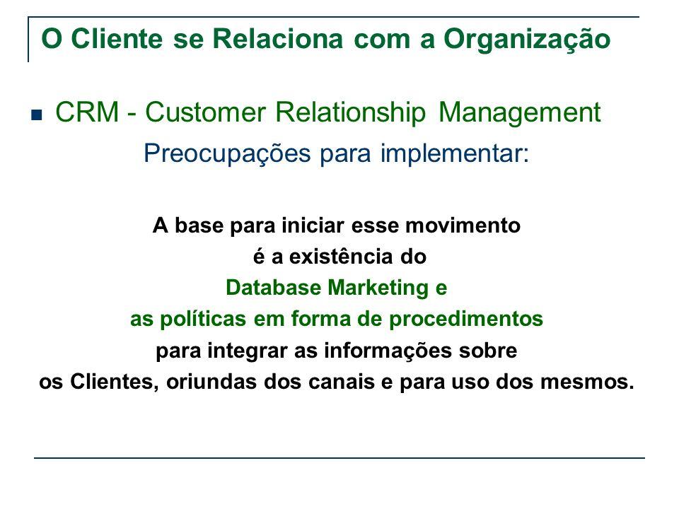 O Cliente se Relaciona com a Organização
