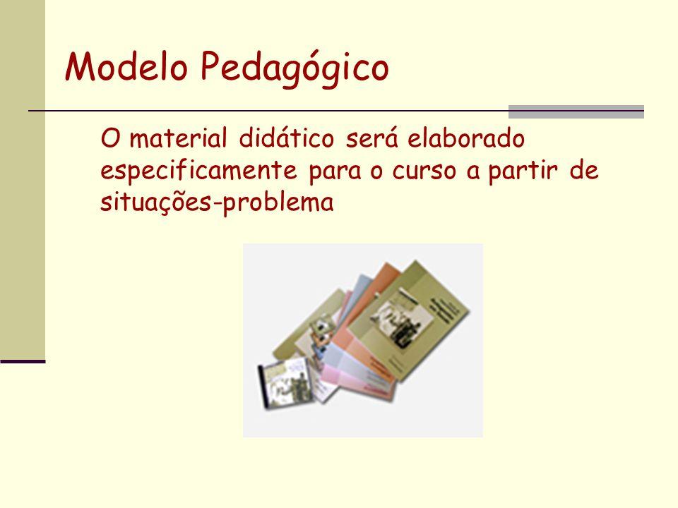 Modelo PedagógicoO material didático será elaborado especificamente para o curso a partir de situações-problema.