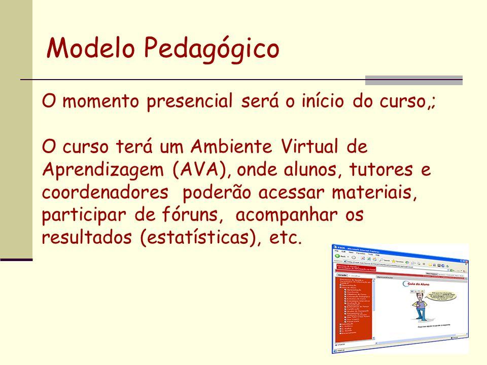 Modelo Pedagógico O momento presencial será o início do curso,;