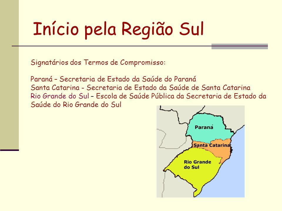 Início pela Região Sul Signatários dos Termos de Compromisso: