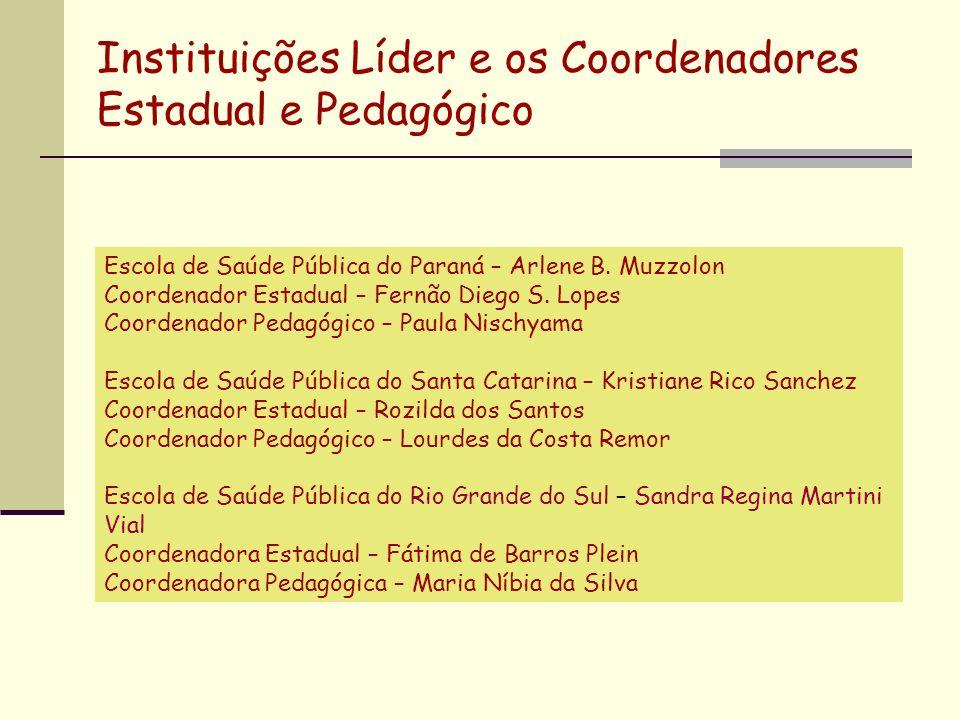 Instituições Líder e os Coordenadores Estadual e Pedagógico